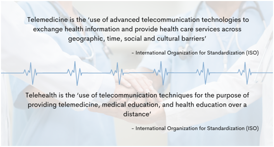 nternational Organization for Standardization (ISO) defines telemedicine as the 'use of advanced telecommunication technologies to exchange health information and provide health care services across geographic, time, social and cultural barriers.' It defines telehealth as the 'use of telecommunication techniques for the purpose of providing telemedicine, medical education, and health education over a distance.'
